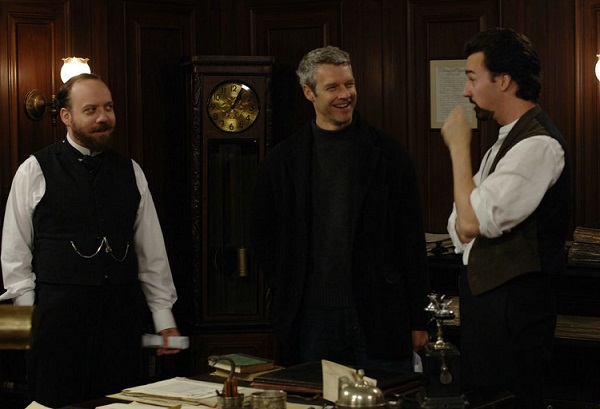 Paul Giamatti, Neil Burger, and Edward Norton on set