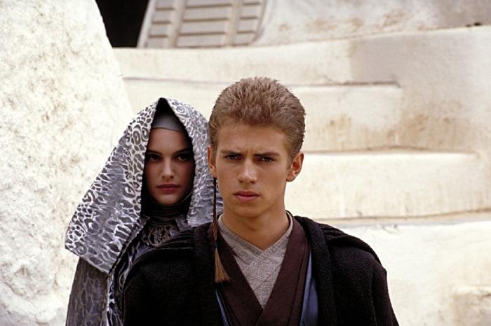 Natalie Portman and Hayden Christensen in Star Wars: Episode II – Attack Of The Clones.