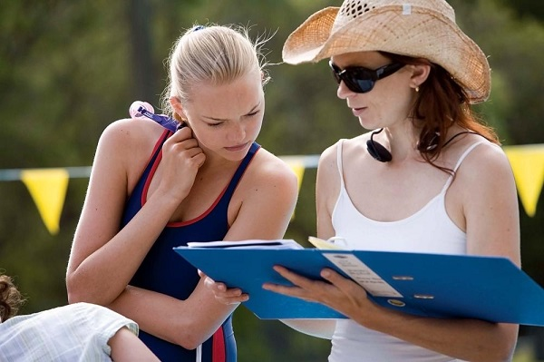Elissa Down (right) and Gemma Ward on the set of The Black Balloon
