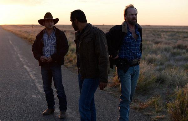 Robert Mammone, Aaron Pedersen and Hugo Weaving in Mystery Road