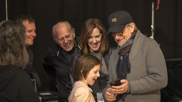 Director Steven Spielberg with Ruby Barnhill and producers Frank Marshall and Kathleen Kennedy on the set of The BFG