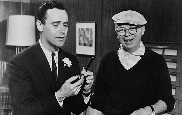 jack-lemmon-and-billy-wilder-in-ungkarlslyan-(1960)
