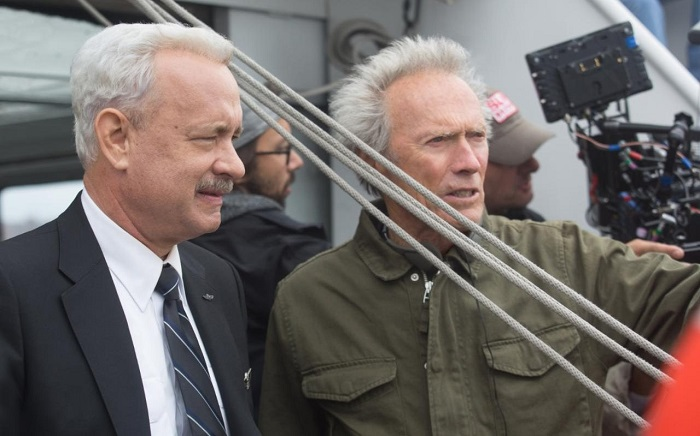 Tom Hanks and Clint Eastwood on the set of Sully