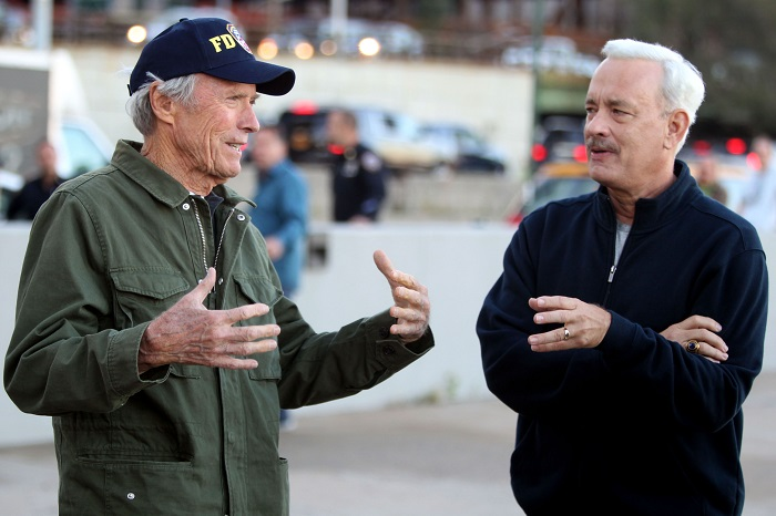 Clint Eastwood and Tom Hanks on the set of Sully