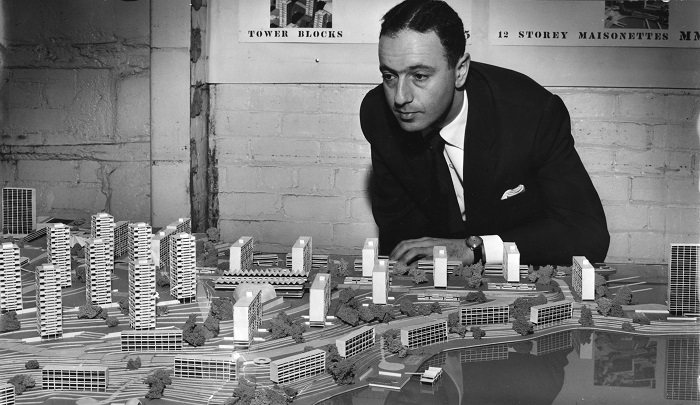 Harry Seidler overlooks his conceptual scheme for McMahons Point in 1957